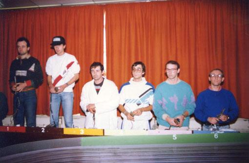 Finale sport-Europe Grand Prix du mans 1988 : Laurent Cardin - Gérard Caupène - Bernard Delobel - Jean-Claude Malherbe - Frédéric Cardin - Serge Vuillemin
