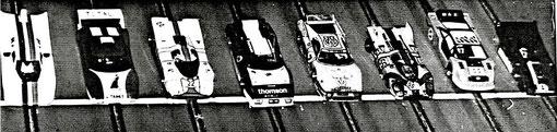 Les t'autos au départ des 24 heures de Rouen slot racing 1985