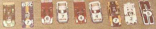 Quelques slot cars du GP de Châtenay-Malabry 1984