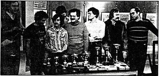 Didier Moret, Philippe Thibault, Barry Magee, (non identifié caché derrière ) Axel Pommeranz, Jack Mandard, ( non identifié ) Jean-Pierre Sutter