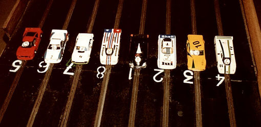 Les huit voitures au départ des 6 heures de Châtenay 1985