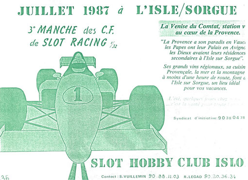 Grand Prix de slot racing de l'Isle sur Sorgue 1987