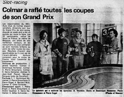 Le grand prix de Colmar 1984 dans la presse. Fred Warnant est de Nevers, Dominique Homatter, Pierre Engels, André Vauthier, Pierre Straumann