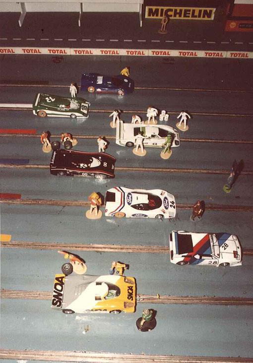 7 voitures sur la pré grille des 24 heures de Rouen 1986