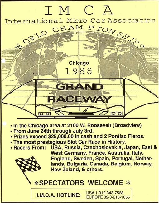 Affiche des championnats du monde de slot racing à Chicago en 1988