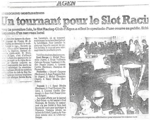 Slot 1985 Agen presse locale présentation de la course