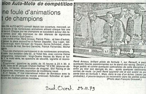 Sud-Ouest du 23 novembre 1979. René Arnoux est au centre, Samy Beraha à droite et Alain Ferté derrière entre eux deux.
