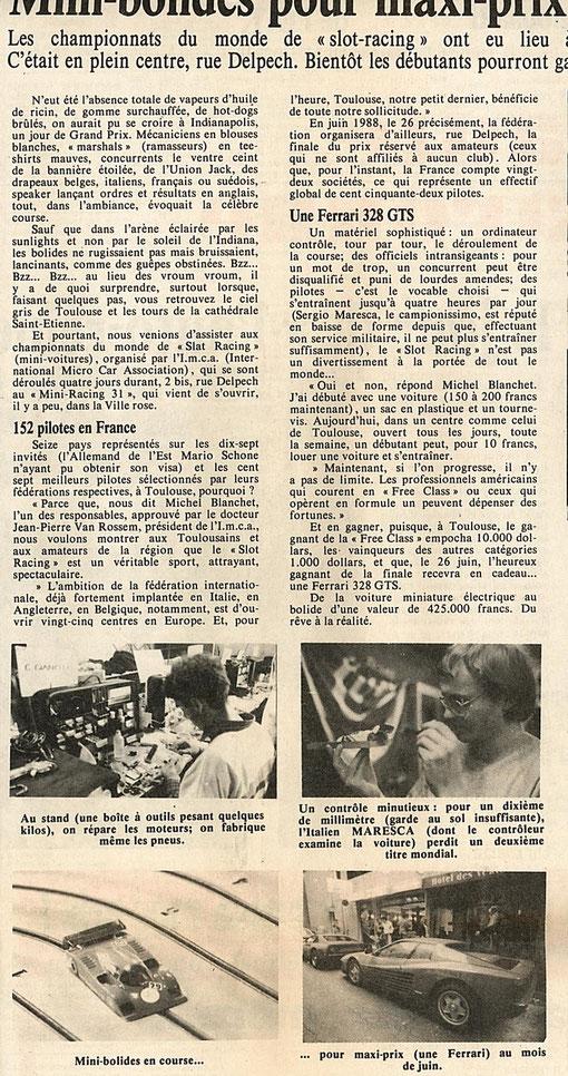 La dépèche du midi du 23 novembre 1987 ( Merci à Ralph Klose pour ce document )