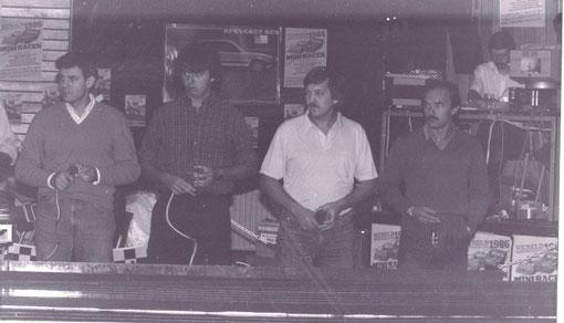Wolrd's Slot racing 1986 Valkenburg : Franco Gianotti, Sergio Maresca, Georges Baikry, Giovanni Montiglio