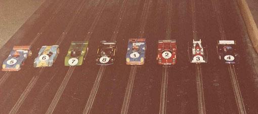 Sport-Europe série 2 Châtenay 1984 : Matra 670C Patrice Lebreton, Porsche 917 Alain Clastres, Ferrari 512M Jean-Claude Malherbe, Ford C100 Alain Guerrier, Matra 670C Frédéric Dezère, Ferrari 512M Michel Blanchet, March 817 William Inghelbrecht, Shadow DN4