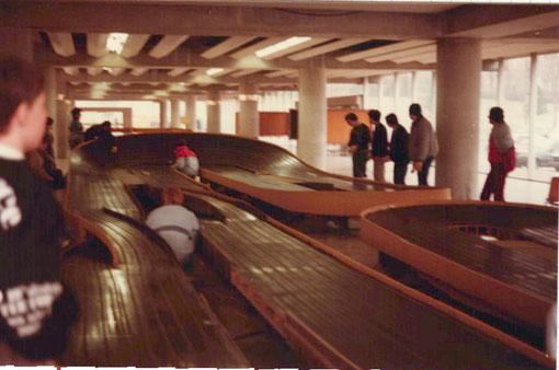 Le banking n° 2 de la piste de slot racing de Châtenay-Malabry au Grand Prix 1984