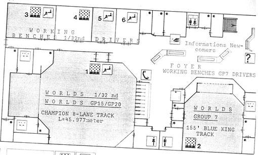 Disposition des deux pistes pour les championnats du monde de slot racing 1986