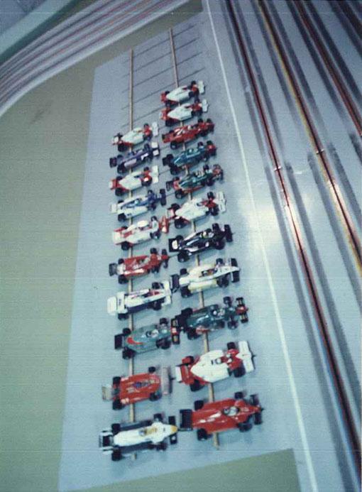 Le plateau des Formule 1 du Grand Prix de slot racing d'Italie 1985