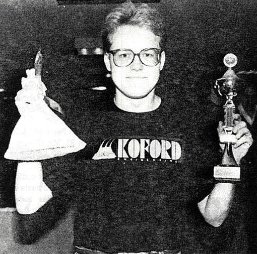 Lasse Aberg ( Sweden ) Champion d'Europe slot racing 1/24 Free Class 1987