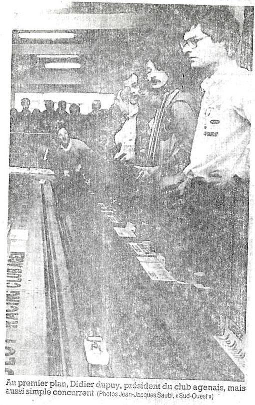 Slot 1985 AGEN Presse locale Didier Dupuis au premier plan devant Michel Thoumieu