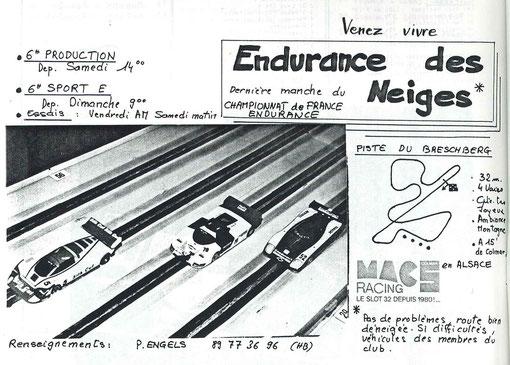 Affiche des deux fois 6 heures à Munster 1987