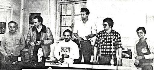 René Guélin, Didier Moret, Jean-Claude Ehinger, Laurent Cardin, Dominique Bellenger, Jean-Claude Malherbe. GP du Mans 1985. ( MiniRacing 8 )
