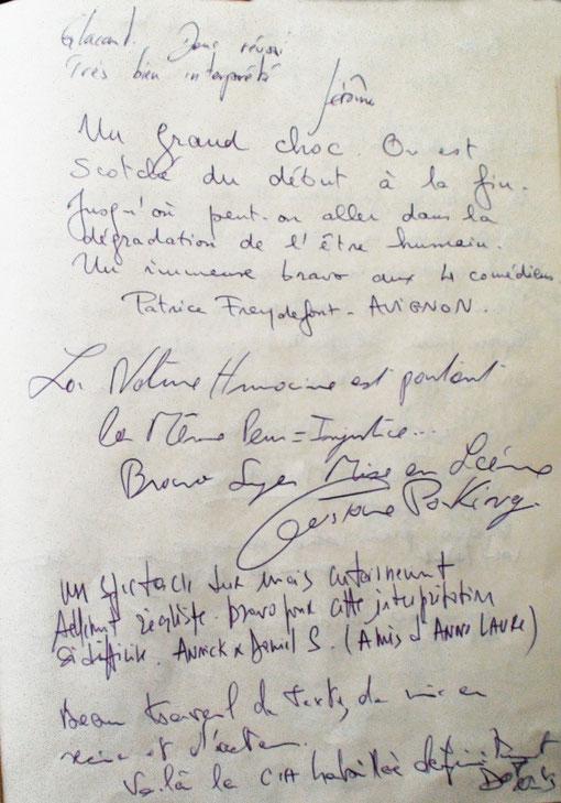 Gustave PARKING avec nous du rire aux larmes à une des représentations de A NU