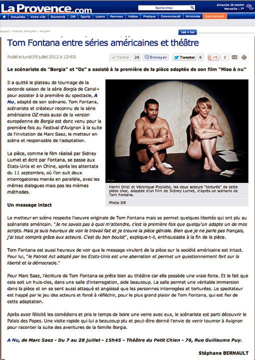à nu adaptation et mise en scène Marc SAEZ est dans LA PROVENCE .COM