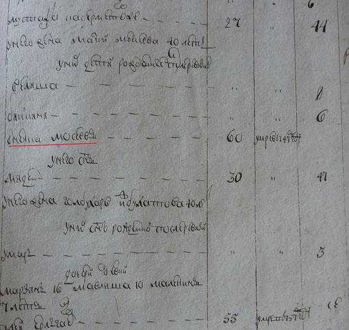 фрагмент переписи 1762г.