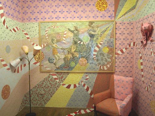 2 x 3 macht 4, 300 x 300 x 300 cm, Installation zur Jahresausstellung der AdBK Nürnberg, 2009