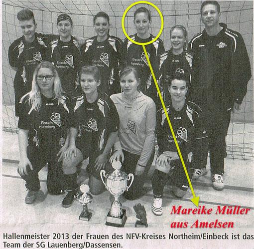 Mareike Müller aus Amelsen spielt erfolgreich in der 1. Damenmannschaft der SG Lauenberg/Dassensen