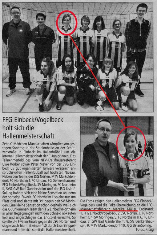 ...Mareike Müller vom SV Amelsen erfolgreich als Mannschaftsführerin der C-Mädchen der FFG Einbeck-Vogelbeck. Herzlichen GLückwunsch von der Klein-Gallien Redaktion