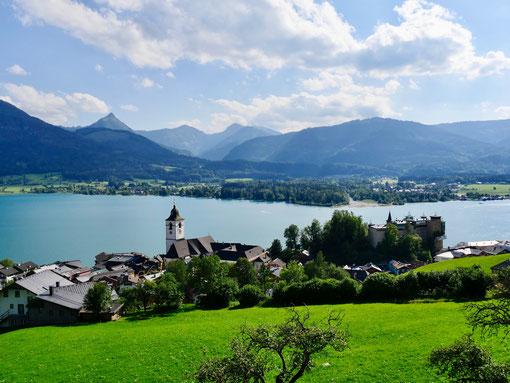 Blick auf Wolfgangsee Sehenswürdigkeit am Wolfgangsee