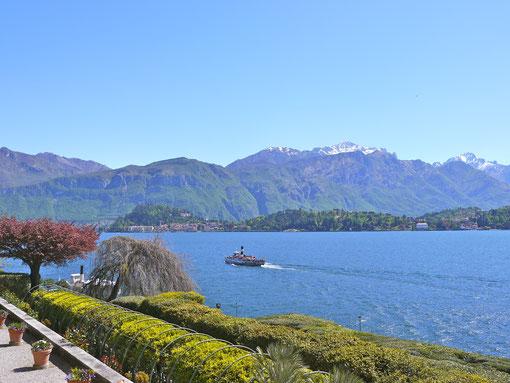 Gartenreise italien, comersee, bellagio umringt von Bergen