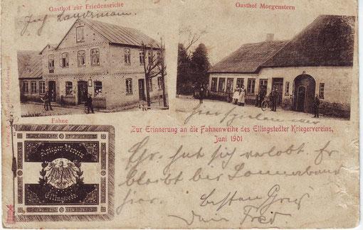 Ansichtskarte mit Fahne Kriegerverein