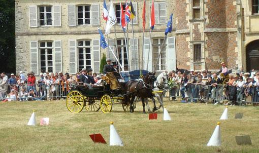 Christian Mettler impegnato nel concorso a ostacoli nel parco del castello di Saint-Agil