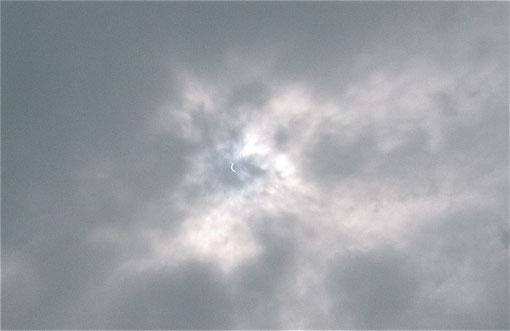 自宅裏庭からほぼ真上の空。午前11時前、かなりの三日月型になっている。