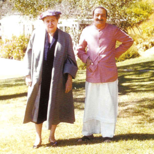 Meher Baba with Ivy Duce in Woodside ( near San Francisco ) in July 1956.  Glow mag. Nov.2003