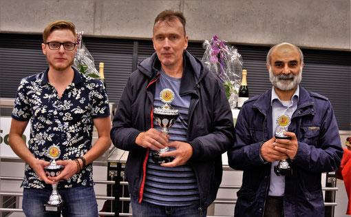 Rheinfelden 17. September 2017, von links:  Gregor Haag (2),  GM Viesturs Meijers (Sieger),  IM Ali Habibi (3)