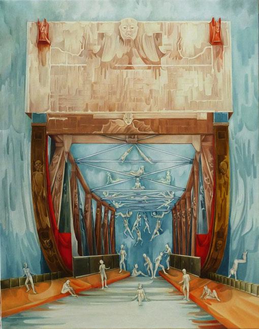 """""""La Roue de l'Equilibre"""". Huile sur toile. 92 x 73 cm."""