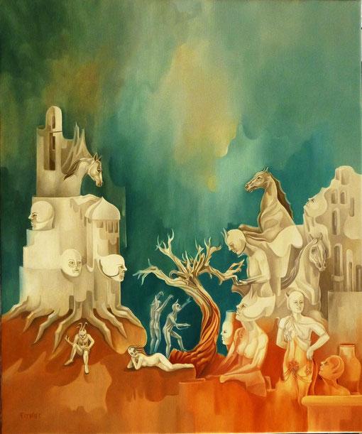 """""""Métamorphoses terrestre"""". Huile sur toile. 60 x 50 cm."""