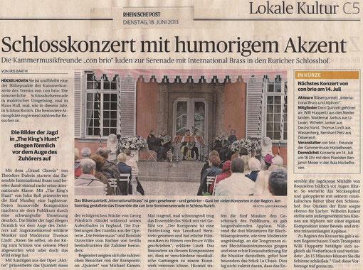 Rheinische Post - Schlosskonzert mit humorigem Akzent