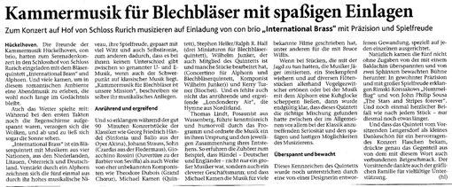 Heinsberger Nachrichten, 20. Juni 2013 - Kammermusik für Blechbläser mit spaßigen Einlagen