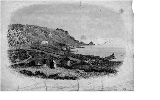 This old etching of Lamorna Cove Granite Quarries, is dated February 4 1859. Can you get someone to name the buildings. Is the building in foreground the old coastguard's lookout? Original donated by George Hoare.