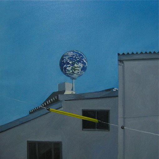 所沢駅の地球, 2012, 606×606mm, Oil on canvas