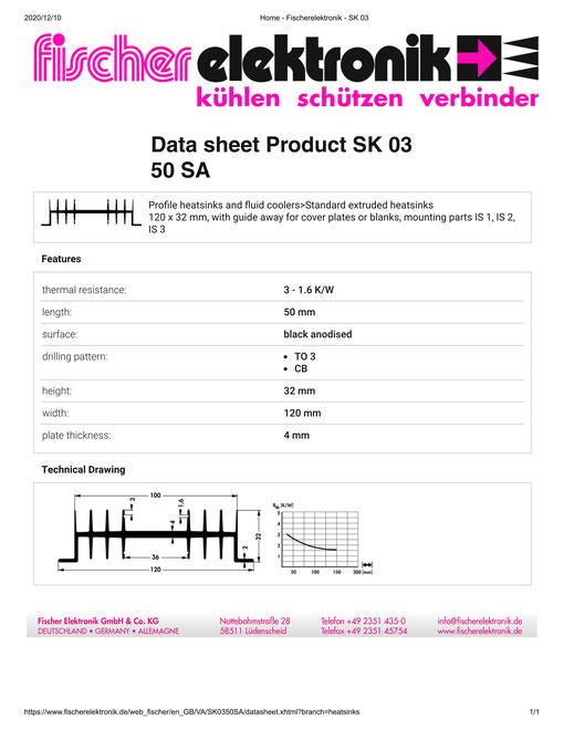 SK03-50-SA Fischer 押出成型 ヒートシンク
