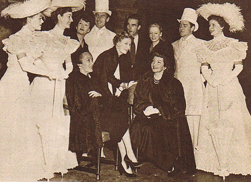 Rehearsal night group. Left to right: Glynis Johns, Valerie Hobson, Jean Kent, Gloria Swanson, Michael Wilding, Irene Dunne, Montgomery Clift, Pat Dainton, Claudette Colbert, Richard Todd and Margaret Lockwood