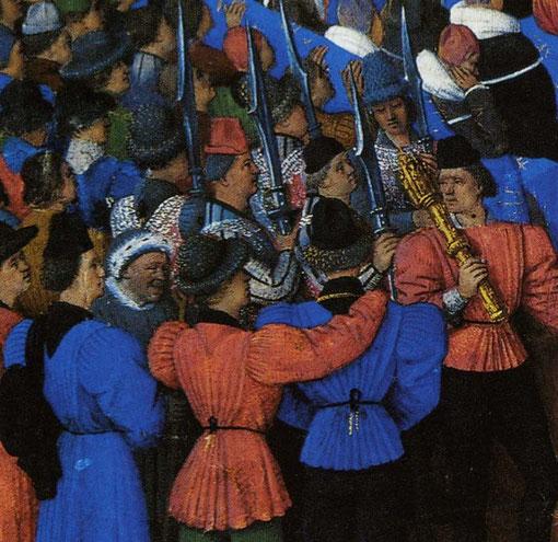 Ceintures de soie terminées par des ferrets de +/- 10 cm sur robe de nobles Lit de Justice- Jean Fouquet - Bibliothèque de Munich