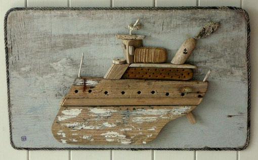 Bateaux les tableaux en bois flott site de chantier jakez for Bateau en bois flotte