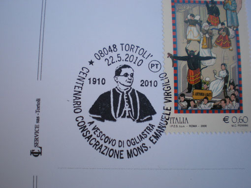 annullo filatelico, centenario della consacrazione a Vescovo d'0gliastra  magg.2010
