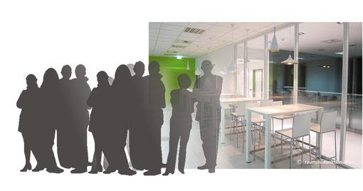 Raumundfunktion, Grundriss, Office, Officeplanung, Innenarchitektur, Kantine, Yaskawa,