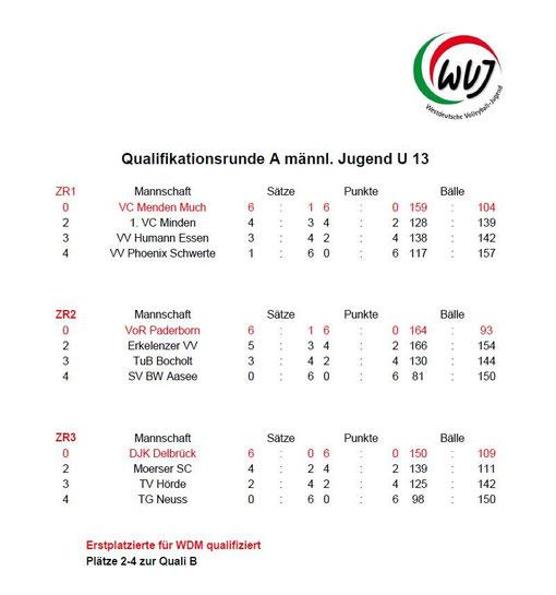 Ergebnisse Quali A vom 13.01.2013