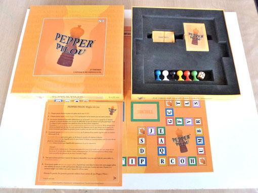 Pepper Pilou pour Philippe Robiette. Celui-ci nous a demandé un calage en mousse. Après une première série de 500 jeux, Pepper Pilou en est à sa deuxième édition.