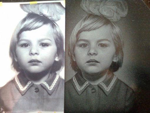 Портрет девочки на базальте