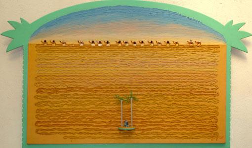 désert, oasis, chameau, dromadaire, Afrique, chaleur, Sahara, troupeau, traversée, peinture, tableau, art contemporain, Lesenfans